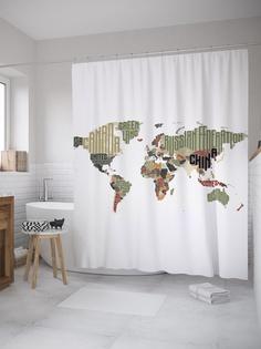 Штора (занавеска) для ванной «Буквенная карта» из ткани, 180х200 см с крючками Joy Arty