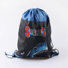 Мешок для обуви Котофей Sharks серо-голубой, 35x45