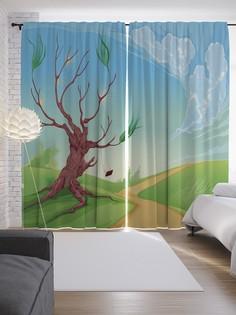 """Шторы с фотопечатью """"Дерево спасает качели"""" из сатена, 290х265 см Joy Arty"""