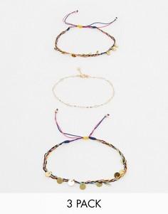 Набор из 3 разноцветных браслетов на ногу ALDO-Золотой