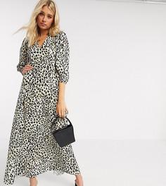 Леопардовое платье макси А-силуэта с пышными рукавами эксклюзивно для ASOS DESIGN Tall-Мульти