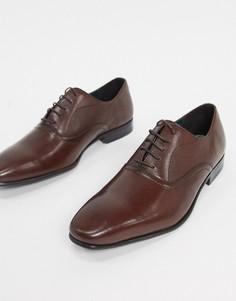 Коричневые кожаные оксфордские туфли Burton Menswear-Коричневый