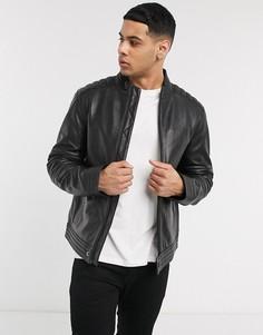 Кожаная байкерская куртка Calvin Klein-Черный