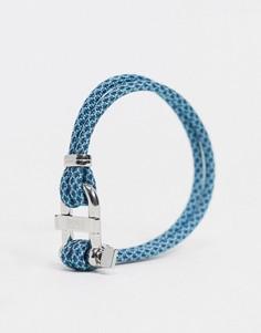 Синий веревочный браслет с металлической застежкой Hugo Boss