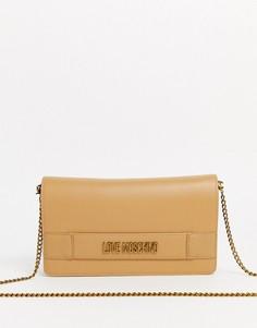 Бежевая сумка с логотипом и отстегивающимся ремешком-цепочкой Love Moschino-Бежевый