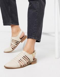 Бежевые кожаные туфли на плоской подошве ASOS DESIGN-Кремовый