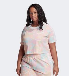 Розовая короткая футболка с принтом тай-дай и тремя полосками adidas Originals Plus-Розовый