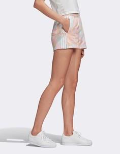 Розовые шорты с принтом тай-дай и 3 полосками adidas Originals-Розовый