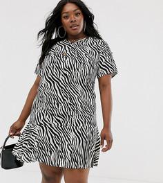 Платье с заниженной талией и V-образным вырезом AX Paris Plus-Мульти