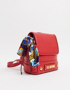 Красный рюкзак с шарфом Love Moschino