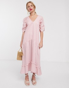 Свободное платье макси в полоску Lost Ink-Розовый