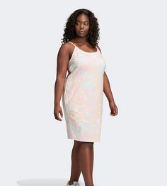 Розовое платье на бретельках с тремя полосками adidas Originals Plus-Розовый