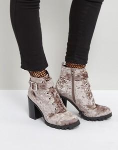 Бархатные ботинки на каблуке Qupid-Серый
