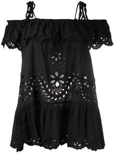 RedValentino блузка с открытыми плечами и цветочной вышивкой