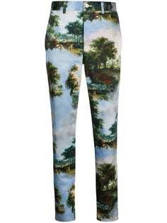 Comme Des Garçons брюки кроя слим с цветочным принтом
