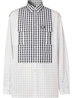 Burberry рубашка со вставкой в клетку гингем
