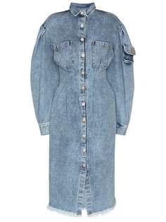 Natasha Zinko приталенное джинсовое платье миди