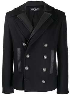 Balmain двубортное пальто с двойным воротником