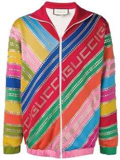 Gucci спортивная куртка в полоску с кристаллами