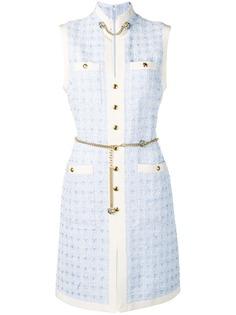 Gucci короткое твидовое платье с цепочным поясом
