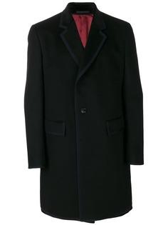 Gucci однобортное пальто с контрастной отделкой