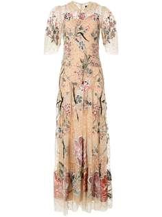 Biyan вечернее платье из тюля с цветочной вышивкой