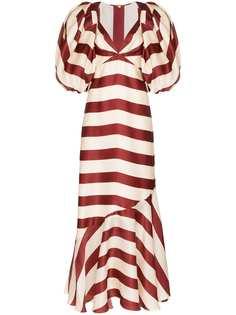 Johanna Ortiz платье макси Parada в полоску с рукавами-болеро