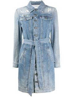 Givenchy джинсовое платье-рубашка с эффектом потертости