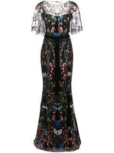 Marchesa Notte вечернее платье с цветочной вышивкой