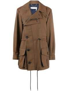 Chloé пальто в ломаную клетку со смещенной застежкой