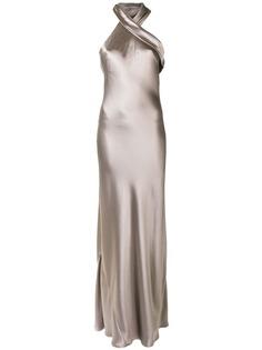 Galvan вечернее платье Pandora с эффектом металлик