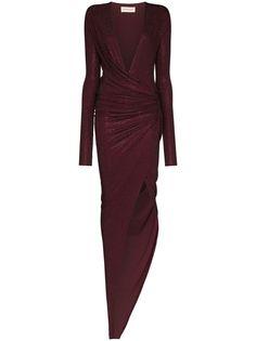 Alexandre Vauthier длинное платье с драпировкой