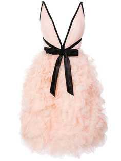 Marchesa коктейльное платье с отделкой в виде роз