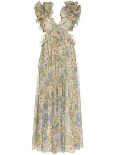 Zimmermann вечернее платье с цветочным принтом и оборками