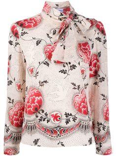 RedValentino блузка с завязками на воротнике и цветочным принтом