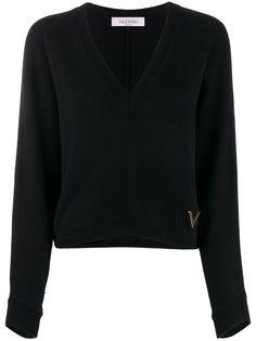 Valentino джемпер с V-образным вырезом и логотипом