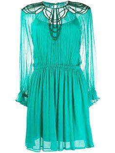 Alberta Ferretti полупрозрачное коктейльное платье с вышивкой