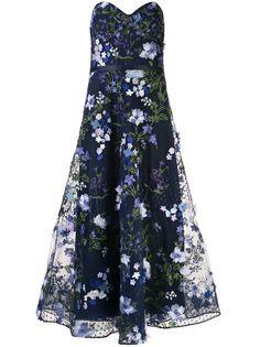 Marchesa Notte расклешенное вечернее платье с цветочной аппликацией