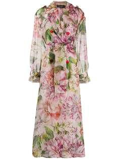 Dolce & Gabbana пальто оверсайз с цветочным принтом и поясом