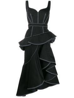 Alexander McQueen джинсовое платье миди с баской