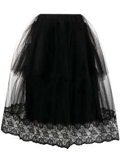 Simone Rocha юбка миди со вставкой из тюля