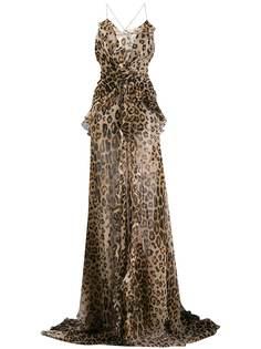 Etro платье макси с леопардовым принтом