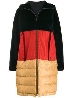 Liska пальто в стиле колор-блок с капюшоном