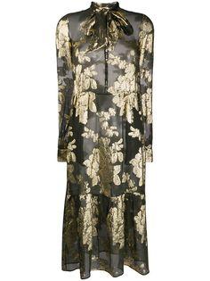 Saint Laurent парчовое платье с цветочным узором