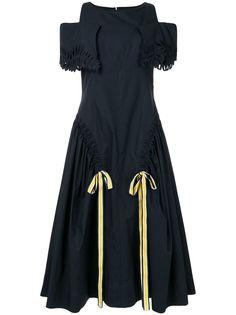 Fendi расклешенное платье с открытыми плечами
