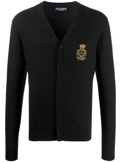 Dolce & Gabbana фактурный кардиган с нашивкой-логотипом DG