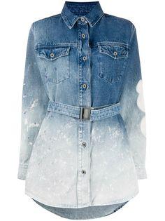 Off-White джинсовое платье-рубашка с эффектом градиента