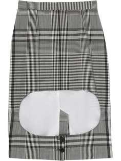 Burberry клетчатая юбка с вырезом