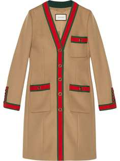 Gucci пальто с отделкой Web