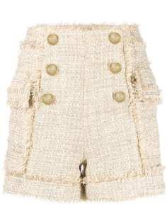 Balmain твидовые шорты с бахромой